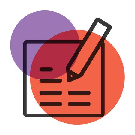 Un crayon et un papier Papeterie Office outil icône marque de couleur.