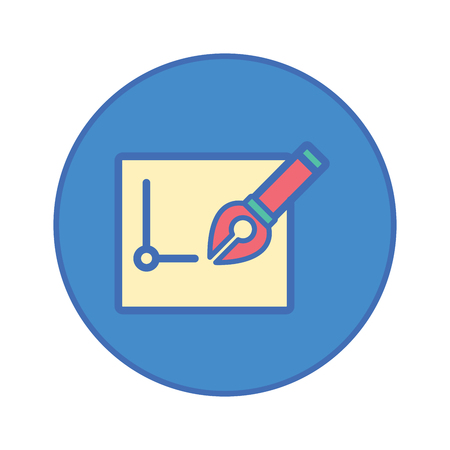 nib: Pen tool and paper Stationery Office tool icon blue button Illustration