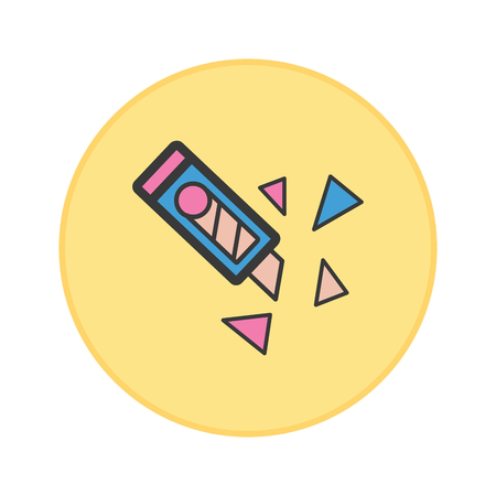 Cutter icon yellow button vector illustration.
