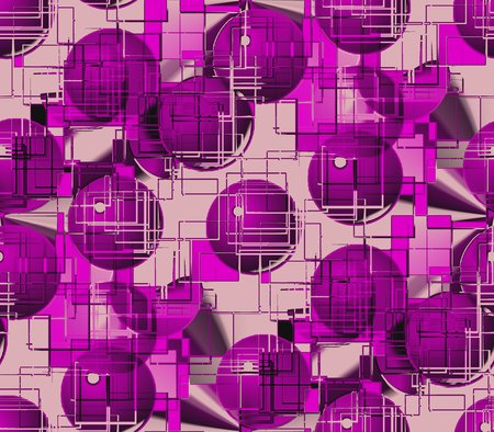 convex shape: Abstract seamless background on pale lilac surfaces are smooth and convex pink and gray, black balls and circles, squares and dots Stock Photo