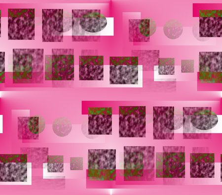 seamless abstract lines background, ribbons, stripes and circles pink with green and white on a pink background with white close