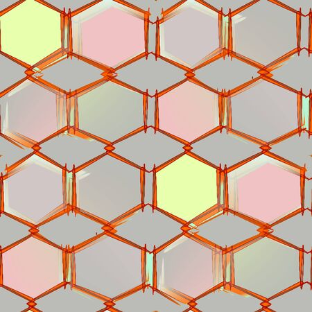 Abstract seamless pattern on a light gray background gray and pink with yellow polygon, diamonds and hexagons bonded together into a single pattern with brown stroke Stock Photo