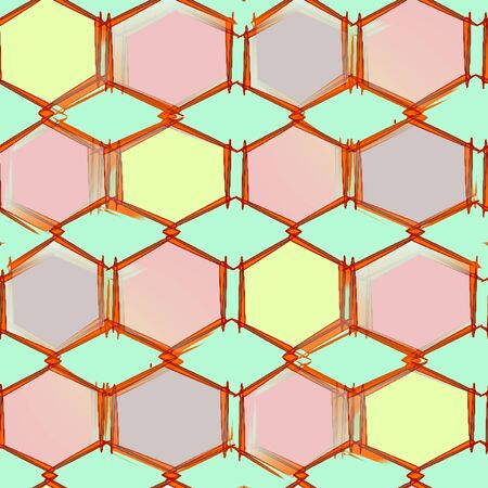 Abstract seamless pattern on a light green background gray and pink with yellow polygon, diamonds and hexagons bonded together into a single pattern with brown stroke Stock Photo