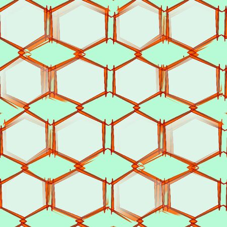 Abstract seamless pattern on a light green background gray hexagons with brown stroke pins fastened together into a single pattern