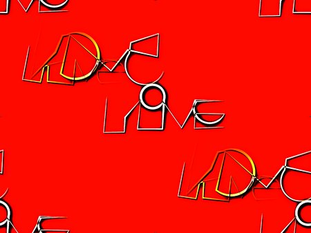 unusually: Abstract seamless background in the red handwriting font unusual love
