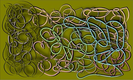 abstract multicolored cords heaps piled up and intertwined with olive background Illustration