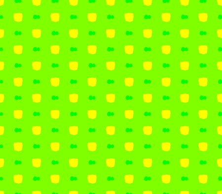 Abstract seamless green background yellow squares and green ribbons lined in rows to form a continuous pattern