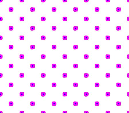 Abstract seamless white background with pink squares, and blue dot pattern laid out in rows and creating