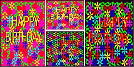 Satz von Grußkarten in verschiedenen Formaten abstrakte nahtlose Muster von farbigen Blumen in rot, blau, pink und gelb und grün Blätter dreieckige Form um die Zeichnung bilden das Muster und die Wörter alles Gute zum Geburtstag rot und gelb Strich