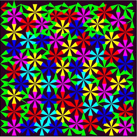 Abstract purple layout with colorful sheets of triangular shape around the drawing pattern form.