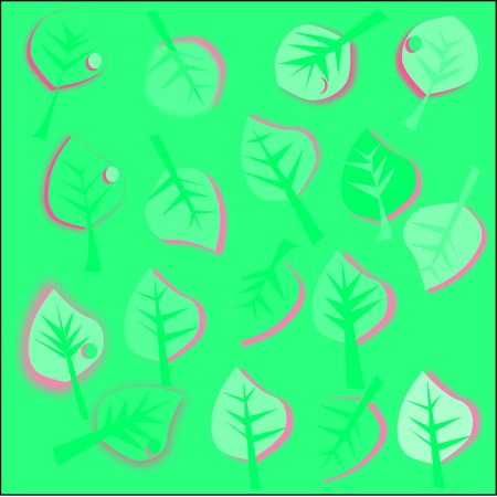 abstract green background green leaves with pink and green streaks stroke and a drop of dew scattered around the figure