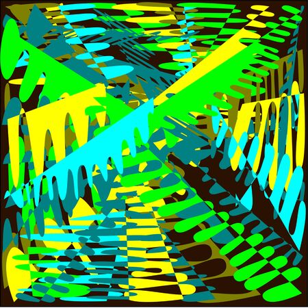Abstract brown background with colored yellow, blue and green lines with a flushed paint aspire to the center of the picture