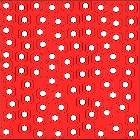 Abstract red background with white hexagons stroke lines on both sides are placed randomly around the pattern Illustration