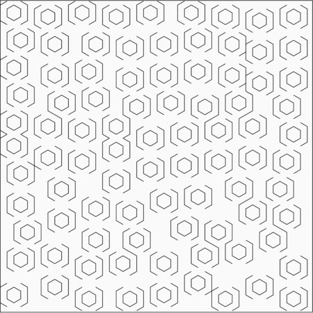 Abstract white background with lines hexagons strokes on both sides are placed randomly around the pattern