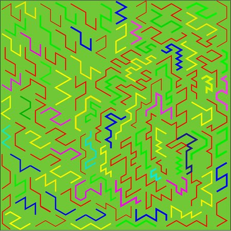 Abstract green background color pink and yellow and blue and brown and red and green curves lines and zigzags and figures placed around the drawing Illustration