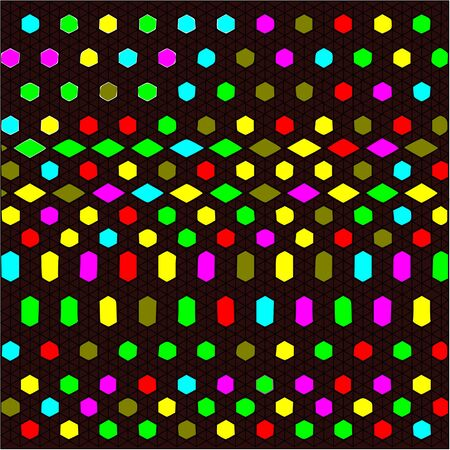 elongated: Abstract brown background black openwork mesh and hexagonal, quadrangular stones of red and yellow, pink and green, and blue are placed around the drawing