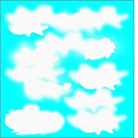 Abstract blue background with large white clouds around the figure Illustration