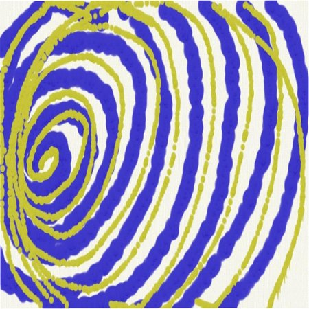 Abstract pattern of colored circles and stains of blue and yellow draining paint from the left side throughout the drawing