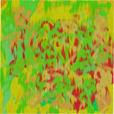 Abstract pattern of colored spots and lines, circles and dots of red and yellow and green flowing colors