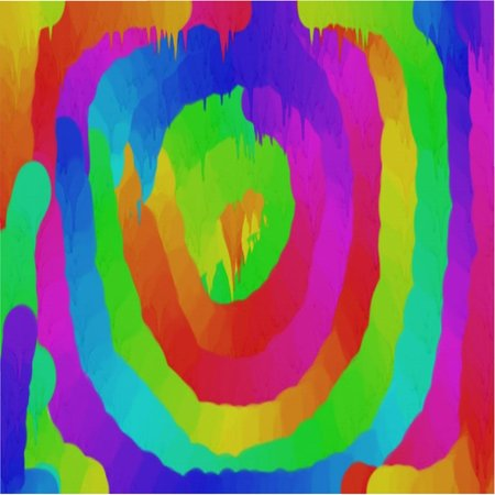 Abstract pattern of colored circles and dots of red and yellow and green and blue flowing dyes
