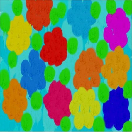 Abstract pattern of colored circles and dots of red and yellow and green and blue flowing colors in the form of flowers
