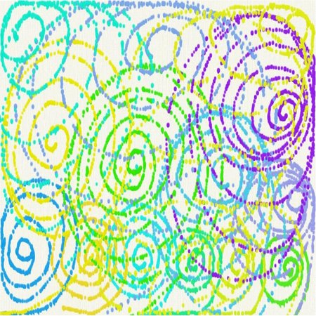 Abstract white background of yellow and blue and green circles and lines and dots in the form of colors of flowing paint throughout the drawing