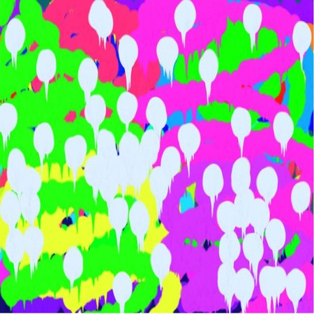 Abstract pattern of colored green and blue and pink lines and spots of white flowing paint throughout the drawing