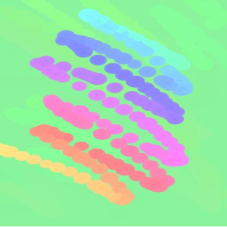 artist's canvas: Abstract background of spots of blue and green and pink and yellow spreading paint light and dark throughout the drawing
