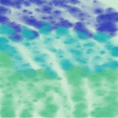 artist's canvas: Abstract background of blots of blue and green spreading paint light and dark throughout the drawing