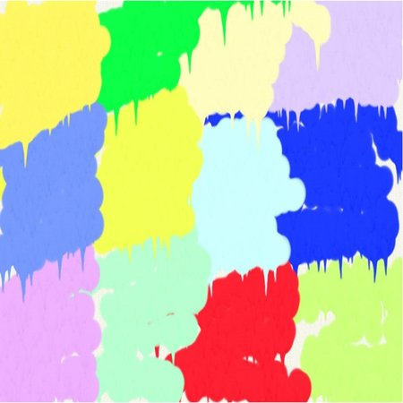 Abstract background of spots of blue and green and pink and yellow spreading paint light and dark throughout the drawing