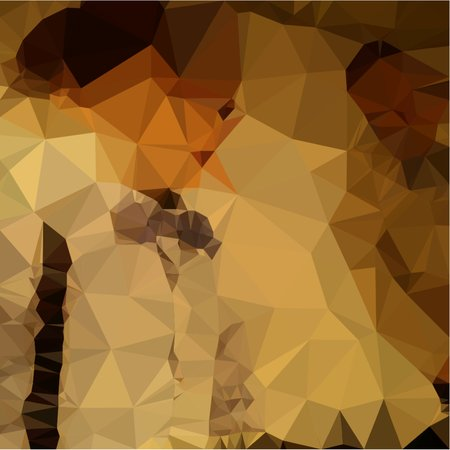 Abstract pastel tone in the style polygon soft tone boys dressed in sweaters and curtains and trousers are standing