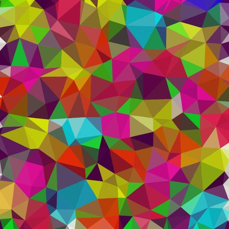 Abstract background of small triangles polygon blue and pink and green and yellow fragments light and dark sharp throughout the drawing