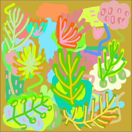 Abstract hand writing texture in green and blue and yellow and pink and brown tone, design for greeting cards
