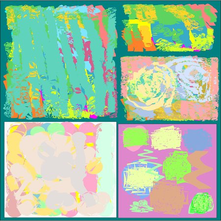 fresco: Collection of five abstract writing textures in green and blue and yellow and pink and brown tone, design for greeting cards and banners and posters