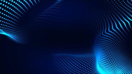 Dot white blue wave light screen gradient texture background. Abstract  technology big data digital background. 3d rendering. Foto de archivo