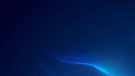 Dot blue wave light screen gradient texture background. Abstract  technology big data digital background. 3d rendering. Foto de archivo