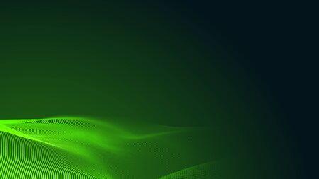 Dot green wave light screen gradient texture dark background. Abstract  technology big data digital background. 3d rendering. Foto de archivo
