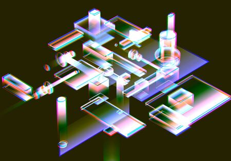 3D Visualization of data and glitch technology background. Abstract technology innovation future digital background. 3d rendering.