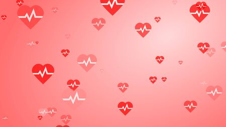 Medical heart beat pulse flat white on red hearts pattern background. Abstract healthcare for World Blood Donor Day.