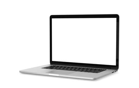 Laptop white gray mockup isolated object on white background with clipping path. Working at home and online education concept.