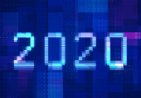 2020 vision new year with technology blue background. Abstract digital machine learning with digital future design concept. 免版税图像