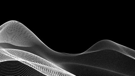 Dot white black wave technology texture background. Abstract big data digital concept. 3d rendering.