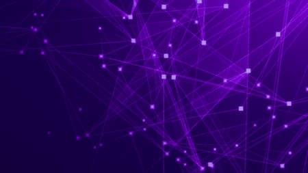 Abstract purple violet polygon tech network with connect technology background. Abstract dots and lines texture background. 3d rendering.