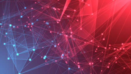 Abstract red blue polygon tech network with connect technology background. Abstract dots and lines texture background. 3d rendering. Stock fotó