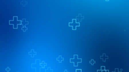 Medical health blue cross neon light shapes pattern background. Abstract healthcare technology and science concept. Stock fotó