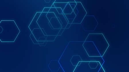 Hexagon geometric blue neon lights technology Hi-tech dark background. Abstract graphic digital future science concept design.