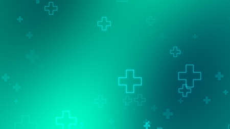 Medical health blue green cross neon light shapes pattern background. Abstract healthcare technology and science concept.