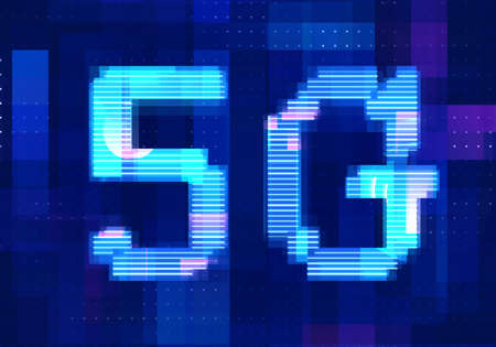 5G Network Internet Mobile icon technology blue background. Abstract digital machine learning with digital future design concept.