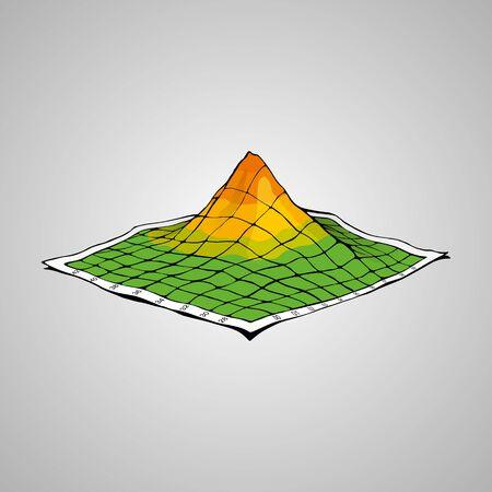 Montagnes sur une carte topographique. Illustration créative. Concept 3D. Vector EPS8