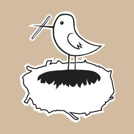 eps8: Bird builds a comfortable nest. Vector EPS8